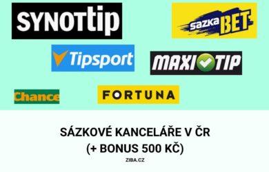 Sázkové kanceláře v ČR a bonus 500 Kč